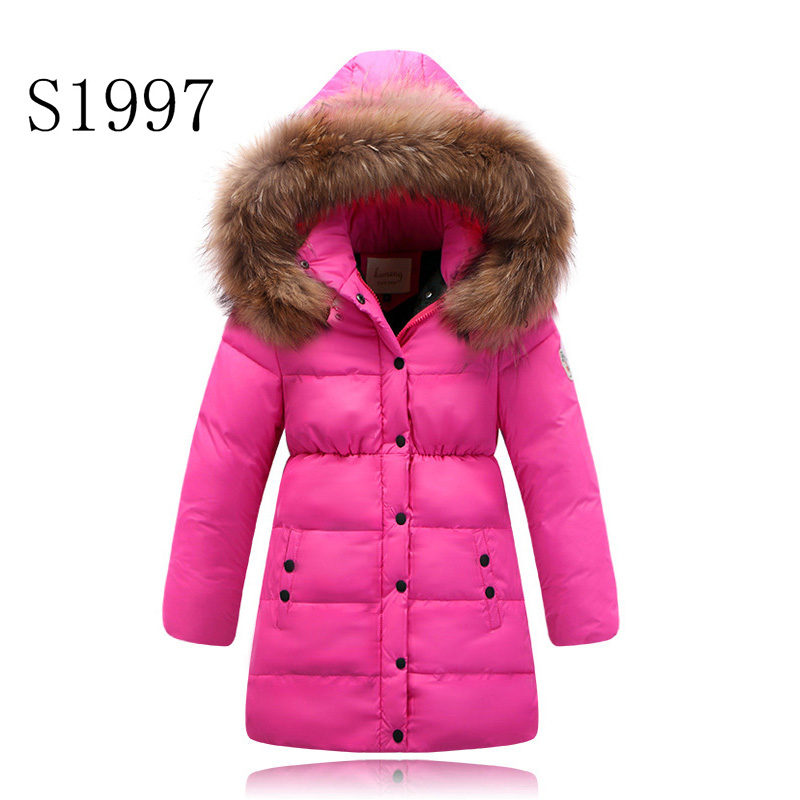 3 Color Feather Cotton Down Kids Winter Coat Baby Girls Clothing  Patchwork Zipper Fur Hooded Long Parkas For 4-14T Kids Retail 2017 fashion boy winter down jackets children coats warm baby cotton parkas kids outerwears for