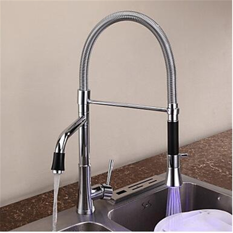 Contemporary NEW Chrome LED Color Kitchen Faucet Pull out Brass Mixer Tap Dual Handle Dual Hole