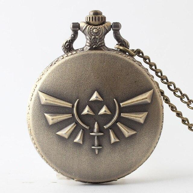 Bronze Alloy Legend of Zelda Antique Style Quartz Pocket Watch Necklace for Men