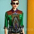 2014 Verano Otoño Calle de La Moda de Nueva Manga Larga Atractiva Del Arco Iris Impresión Da Vuelta-abajo Camisa de Cuello Más El Tamaño XXL