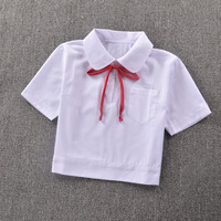 Super Cute Schoolgirl Peter Pan Collar Short Sleeve White Shirt Side Open Zipper
