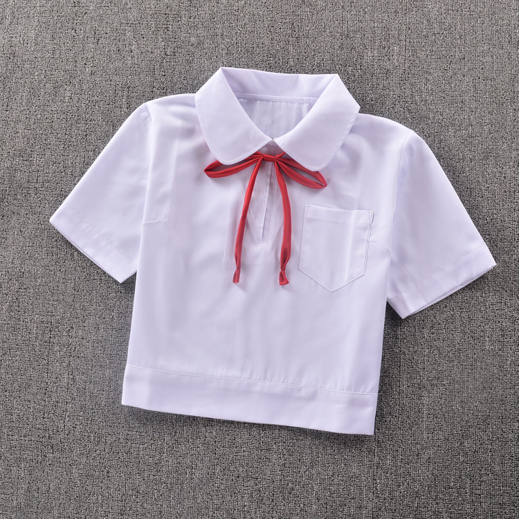"Super Cute ! Schoolgirl Peter Pan collar short-sleeve White shirt "" Side open zipper """