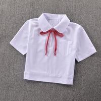 Super Cute Schoolgirl Peter Pan Collar Short Sleeve White Shirt Side Open Zipper