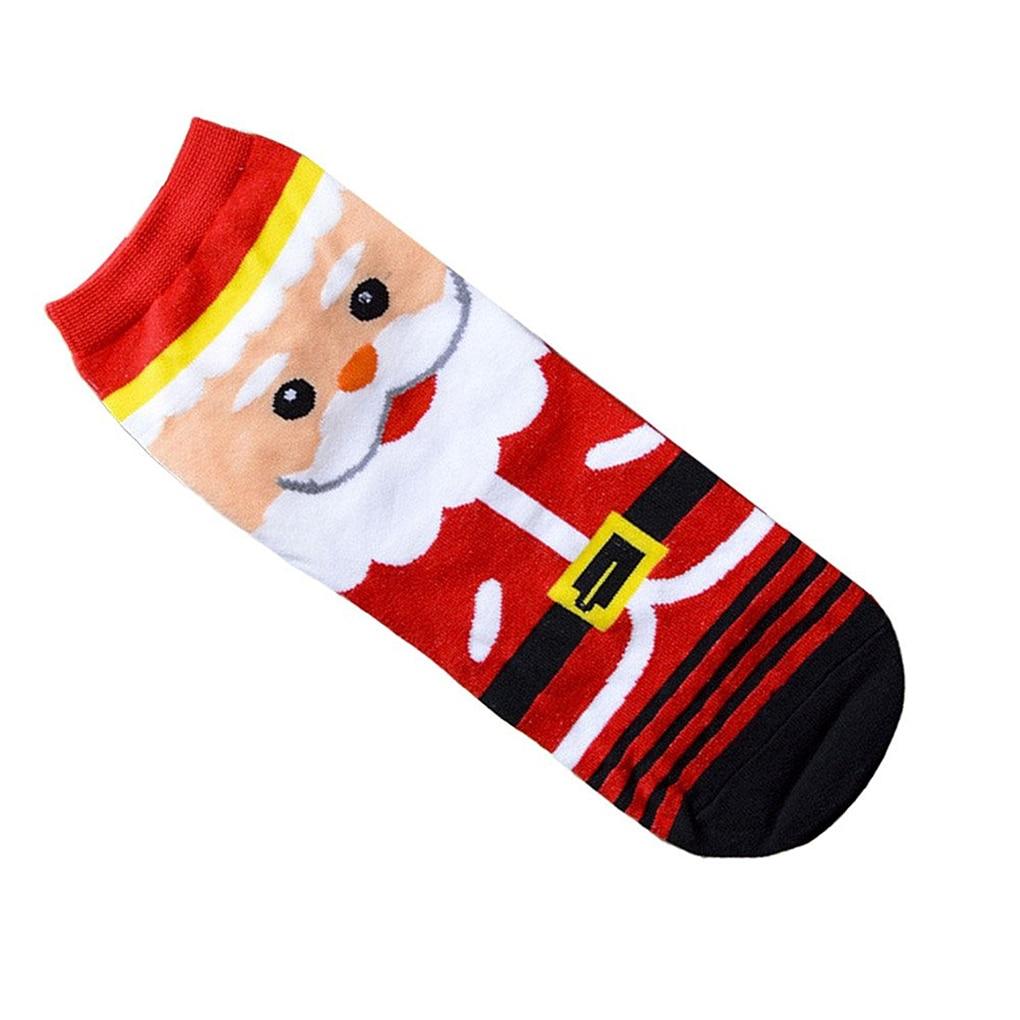 1 pair Women Girls Christmas 3D Santa Claus Pattern Floor Cotton Socks Gift Holders