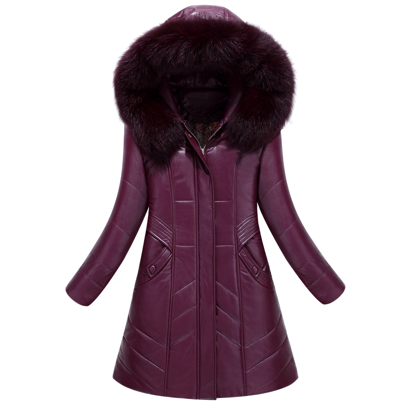 Women's down jacket Slim stylish long section pu leather padded jacket winter warm Large fur collar coat plus size L-8XL Cotton winter jacket female parkas hooded fur collar long down cotton jacket thicken warm cotton padded women coat plus size 3xl k450