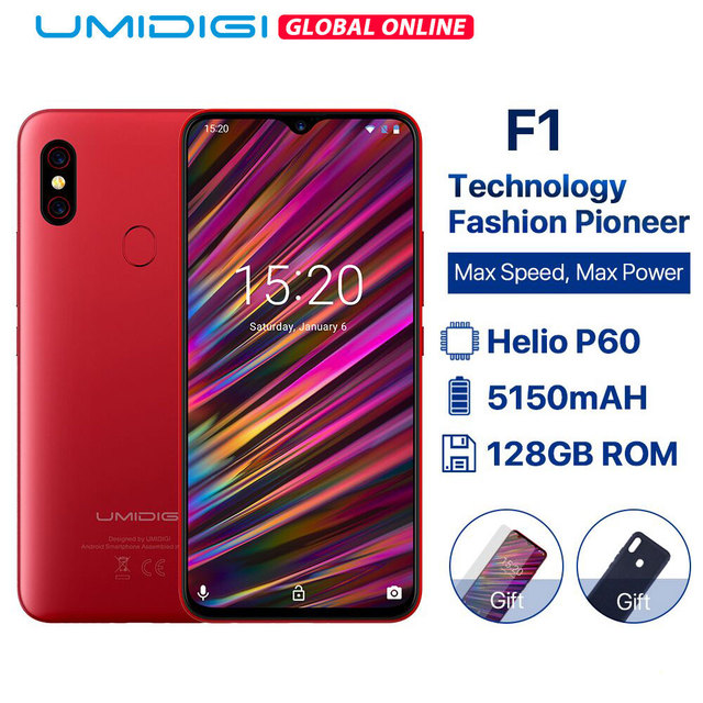 "UMIDIGI F1 6.3"" Waterdrop FHD+ Display Helio P60 Android 9.0 4GB RAM 128GB ROM 5150mAh 18W Fast Charge Smartphone NFC 16MP OTG"