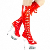 Red Lacing Sexy Bride Crystal Boots 15cm High Heeled Shoes Steel Pipe Dance Shoes Sexy Clubbing