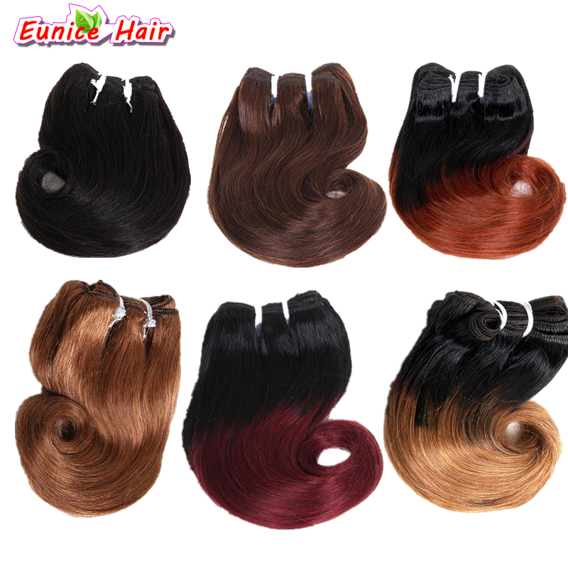 8inch Brazilian Hair Body Wave 4pcs 100g Brazilian Hair Weave Bundles Ombre Color Short Weave Curly Hair Extension