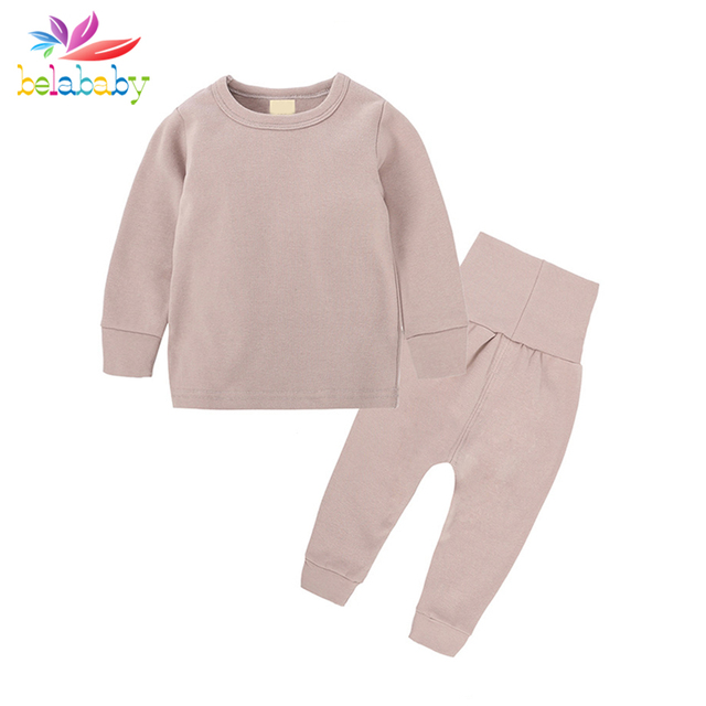 d77264e6b Belababy Baby Girls Boys Sets Autumn Kids Solid Cotton Clothing ...