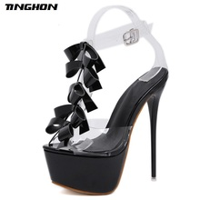 TINGHON Women PU Butterfly-knot Thin High Heels Womens Shoes Shallow Dress Office Lady Pumps Fashion Sandals 34-40