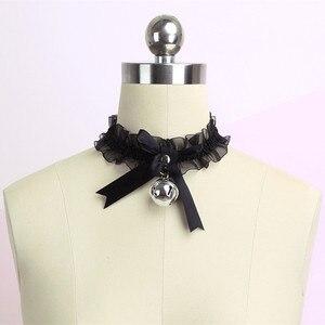 Image 5 - סקסי הלבשה תחתונה יפה קוספליי חתול צווארון BDSM Bondage משענות תחרה צווארון עם פעמון פטיש עבדים מין אביזרי עבור נשים