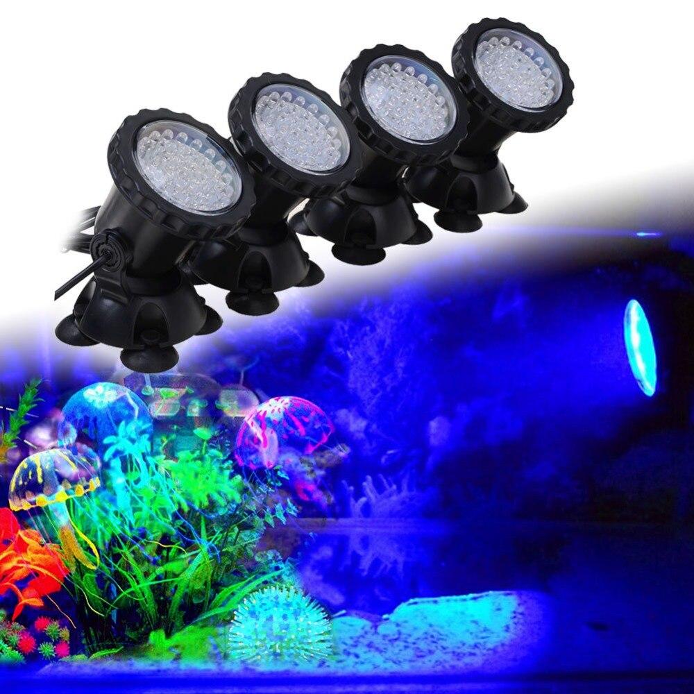 Aquarium Led <font><b>Lighting</b></font> 1 Set 4 Lights RGB 36 Leds 6W Fish Tank Underwater Spot Light with 24 Key IR Remote Control EU/UK/US Plug
