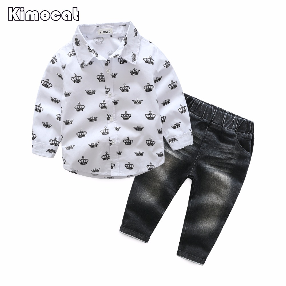 Baby Boys Clothing Set Toddler Cotton Baby Kids Clothes Casual Autumn Children Suit Infant T-shirt+Pants 2Pcs Boy Gentleman Suit t shirt tops cotton denim pants 2pcs clothes sets newborn toddler kid infant baby boy clothes outfit set au 2016 new boys