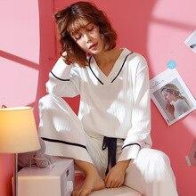 Conjunto de pijama de algodón para mujer, 2020 algodón, blanco, Primavera, otoño e invierno, pantalones de pierna ancha de manga larga, lencería Sexy, pijama de invierno