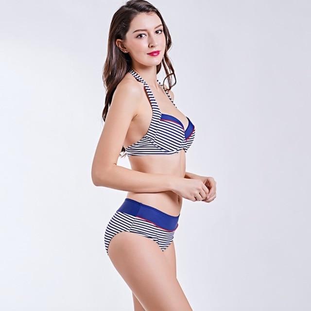 817202bbe095 Q015B Bikinis Swimsuit Women Dot Striped Print Swimwear Halter Top Bikini  Set Bathing Suit Summer Beach Wear Biquini Push Up