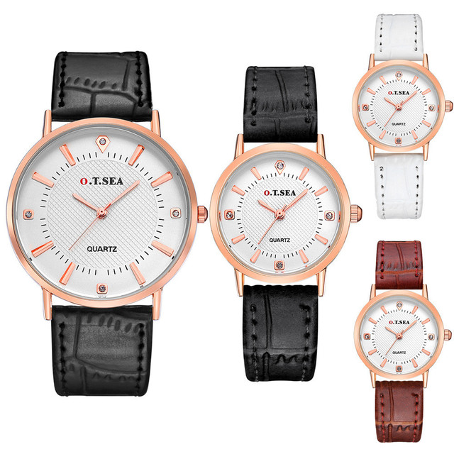 2 pcs/set Luxury Diamond Lovers Watch Fashion Design Couple Dress Wristwatch Cas