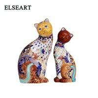 Высший сорт ручной работы керамическая пара кошачьих украшений фарфоровые винтажные животные для украшения дома