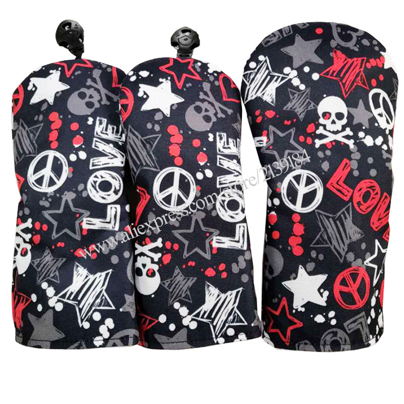 New Unisex Golf Wood Headcover PU Skull Clubs Driver Head Cover 3Pcs/set Waterproof Golf Headcover Free Shipping