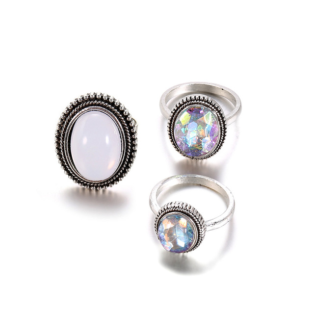 RAVIMOUR 3pcs/Set Punk Finger Rings for Women Female Vintage Opal Resin Wedding Knuckle Ring Set Fashion Jewelry Accessories