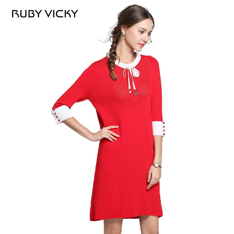 RUBY VICKY O neck half sleeve solid color dresses women knitting office christmas midi dress female 2018 autumn dress vestido