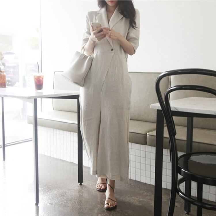 Rompers Female Plus Size M-2XL Elegant Loose Cotton Linen Summer Women Jumpsuit Trousers wide leg jumpsuitS Long Pants Overalls