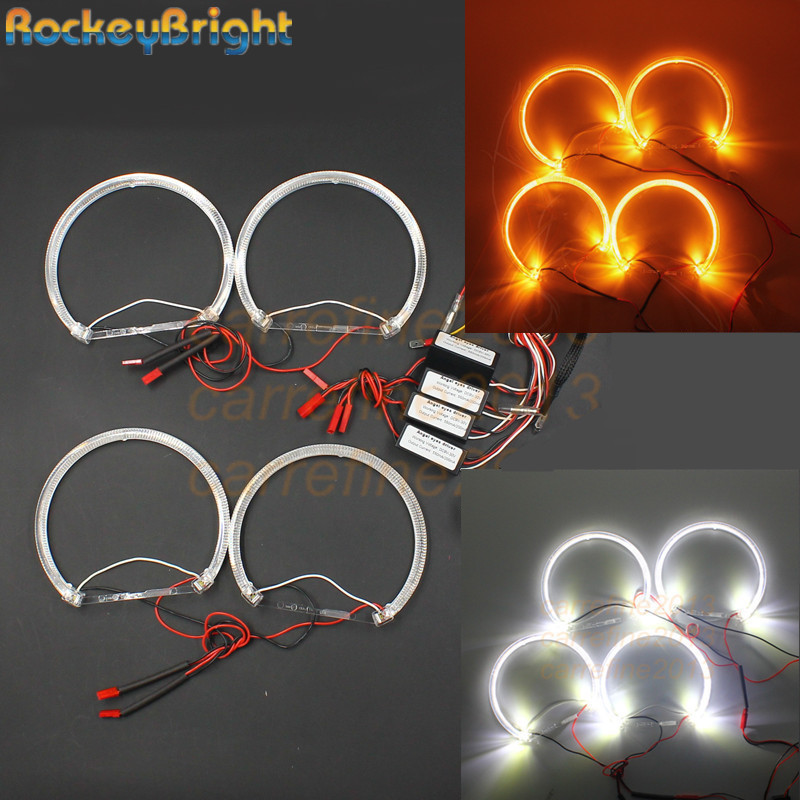 цена на Rockeybright A+A LED angel eyes for BMW angel eye halo rings light E36 E38 E49 E46 projector white yellow crystal LED angel eyes