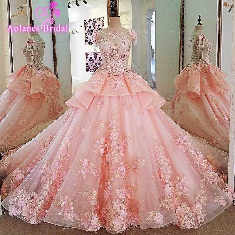 Pink Wedding Gown: Elegant Pink Wedding Dress 2017 Scoop Neck Sleeveless Ball