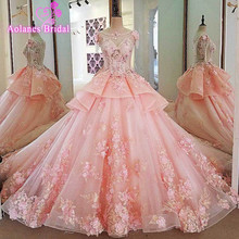 Купить с кэшбэком Elegant Pink Wedding Dress 2017 Scoop Neck Sleeveless Ball Gown Cathedral Train Appliques Tulle Wedding Dresses Robe de mariage