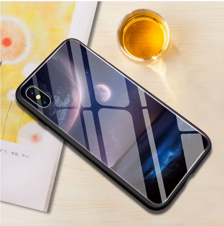 For iphone 7 case xs xr xsmax tempered glass mobile phone case silicone soft edge two in one TPU soft rubber in Half wrapped Cases from Cellphones Telecommunications