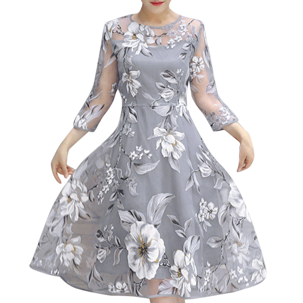 Womail 2018 Fashion Women Summer Organza Floral Print Wedding Party Ball Prom Gown O Neck Dress Gray New Drop Shipping 2.MAY.31