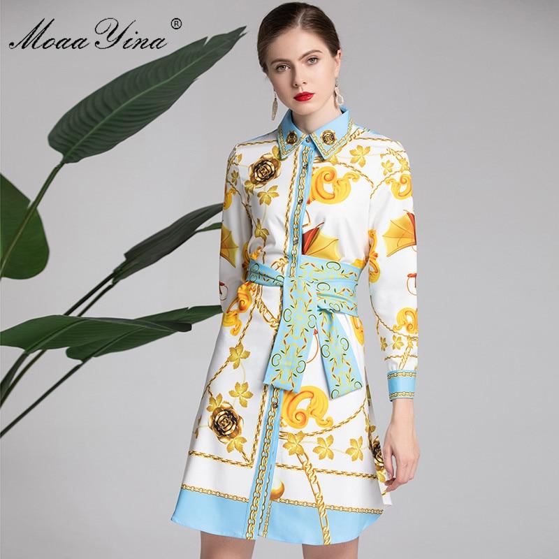 MoaaYina Mode Designer Runway Kleid Frühling frauen langarm Gürtel Vintage Floral Print Kleid Weibliche kleidung vestidos-in Kleider aus Damenbekleidung bei  Gruppe 1
