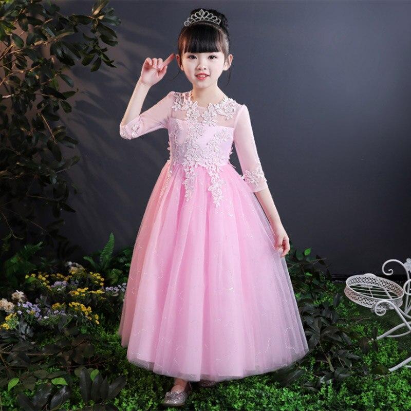Long sleeve mesh evening wedding   girl     dresses   for kids   dress   first communion   dress   baby costume children clothing fluffy   dress