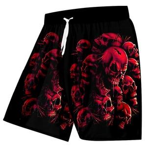 Image 3 - UJWI חדש בתוספת גודל נשים/גברים של 3d גולגולת מודפס מכנסיים קצרים סגול אדום שבור גולגולת מכנסיים להיפ הופ ווק מכנסיים קצרים לוח 5XL