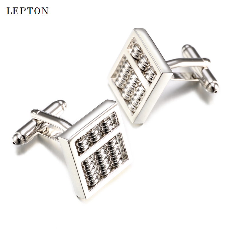 Fashion Abacus Design Cufflinks For Mens Lepton Hot Sale Brass Material Metal Silver Color Functional Tool Abacus Cuff Links
