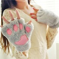 Winter Warm Fluffy Bear/Cat Plush Paw/Claw Gloves Soft Toweling Half Covered Women's Girls Gloves Mittens Christmas Gift S494