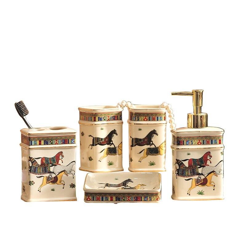 Porte-brosse à dents ensemble de salle de bain | Distributeur de Lotion, porte-brosse à dents savon, plat dent plateau, ensemble gargarisme costume ensembles de salle de bain