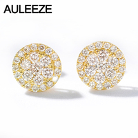 AULEEZE Real 0.80cttw Natural Diamond Stud Earrings 18k Yellow Gold Earrings for Women Wedding Fine Jewelry Gifts
