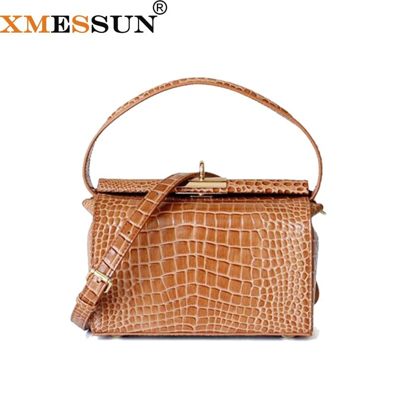 XMESSUN Crocodile Grain Cow Leather Female Handbag Retro Long Box Shaped Purse Luxury Crossbody Bag For