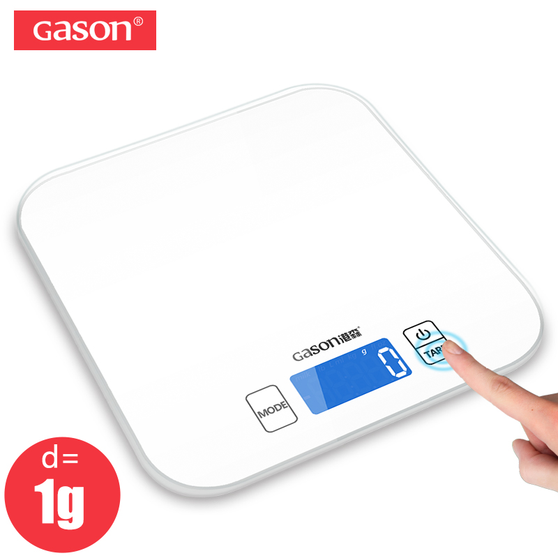 GASON C1 15kg/1g Kitchen Scale Electronic Precision Mini Measure Tools Balance Digital Gram Cooking Food Glass LCD Display