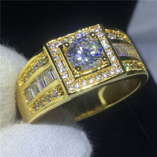 2018 Solitaire Male ring 10KT Yellow Gold Filled ...