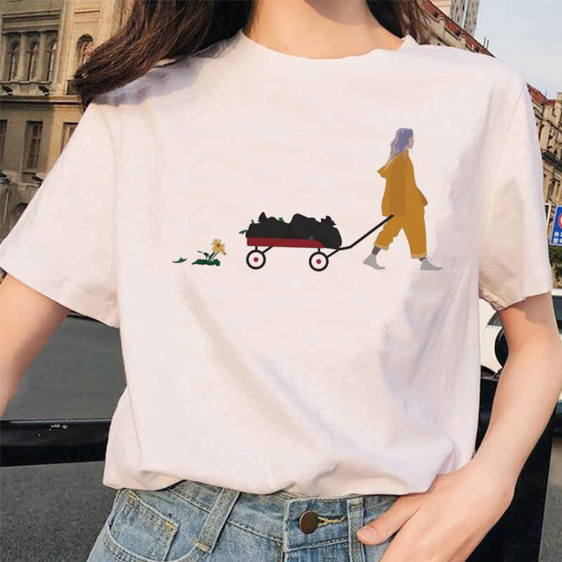 Billie Eilish t koszula ulzzang kobiety kobieta hip hop femme ubrania tshirt śmieszne harajuku lato Casual ulzzang t-shirt streetwear 5