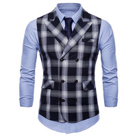 Fashion Black Plaid Suit Vest Men 2018 Autumn New Double Breasted Vest Waistcoat Formal Dress Business Wedding Tuxedo Vest Gilet