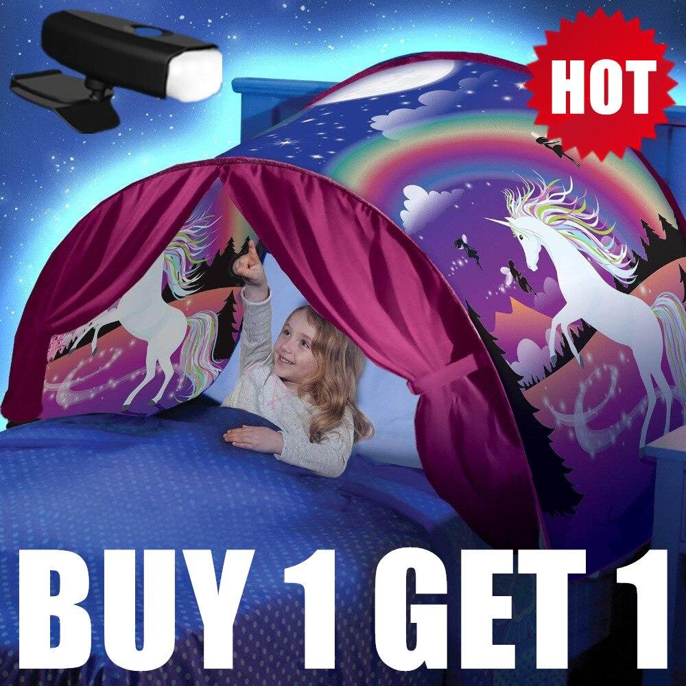 Купить 1 тент получить 1 светодиодный 3D печатных качества палатки для сна с светодиодный свет Единорог пространство Твин Размер Дети День рождения Рождественский подарок-in Чехлы для холодильника from Дом и животные