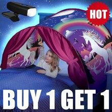 Kupić 1 namiot, co chcesz, zacznij 1 LED 3D drukowane wysokiej jakości sen namioty z Led światła jednorożec przestrzeń Twin rozmiar dzieci Kid urodziny prezent na Boże Narodzenie
