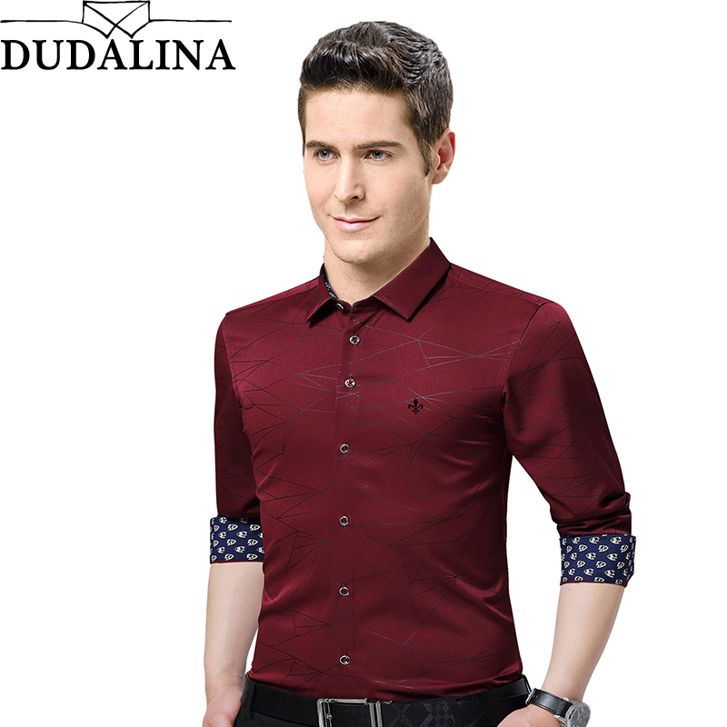 Dudalina Male Shirt 2019 Fashion Brand-Clothing Mens Shirts Casual Slim Fit Geometric Long Sleeve Shirts For Men Casual Shirt