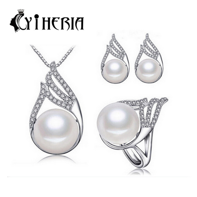 CYTHERIA 100% natural Pearl set,  jewelry sets 925 silver pearl necklace and earrings 3 color for women with gift  box