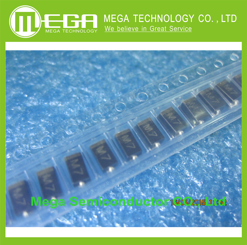 <font><b>1000pcs</b></font> <font><b>1N4007</b></font> M7 1N4004 M4 DO-214AC SMA Molded 1000V 1A Rectifier Diodes image
