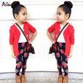 2017 moda Outono meninas roupas definir jaqueta + camisa da menina + flor calças meninas 3 peça conjunto de roupas roupa dos miúdos varejo