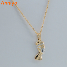 Anniyo SMALL Ancient Egyptian Queen Necklace Pendant Gold Color/Silver Egypt Nefertiti Head Portrait Jewelry #005604(China)