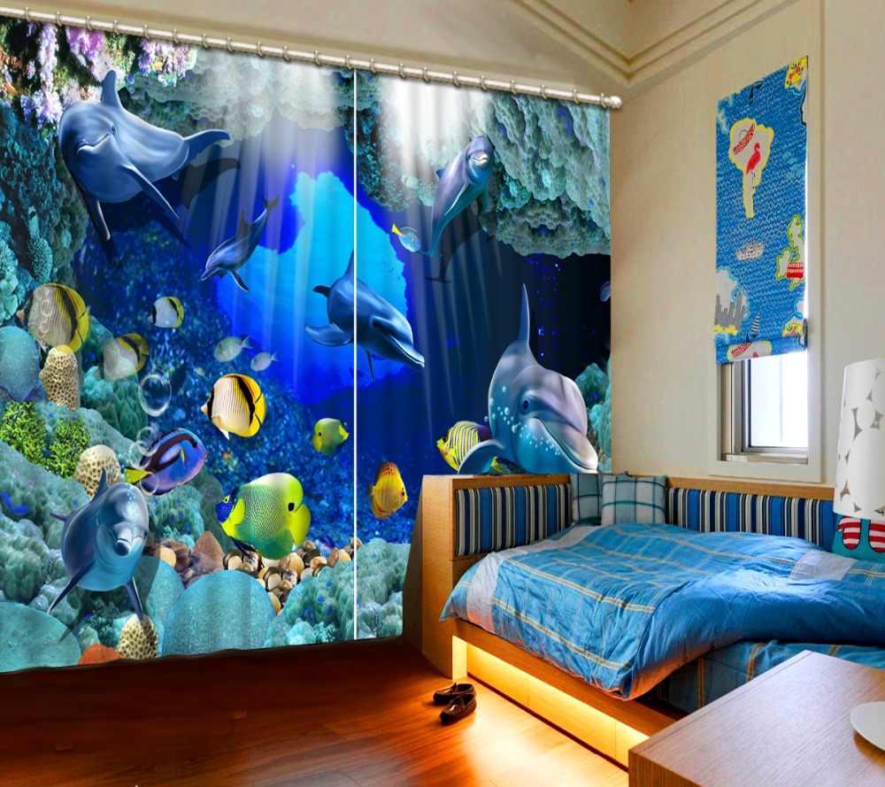 Фотопечатная 3D занавеска s подводный мир дельфины детская оконная занавеска для гостиной спальни полиэстер/хлопок занавески